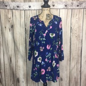 Old Navy Blue Floral Tunic Dress Large